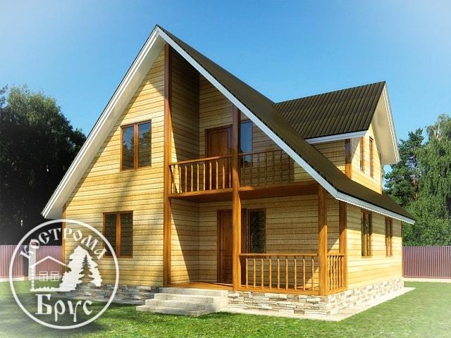 Проект деревянного дома 9х9 из бруса с мансардой и кукушкой .